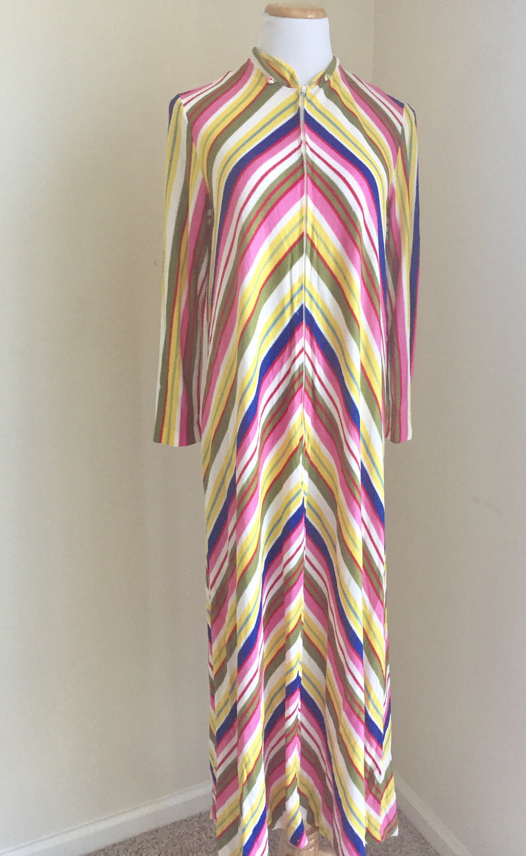 Vintage Striped multicolor full length Dress/ pool cover up