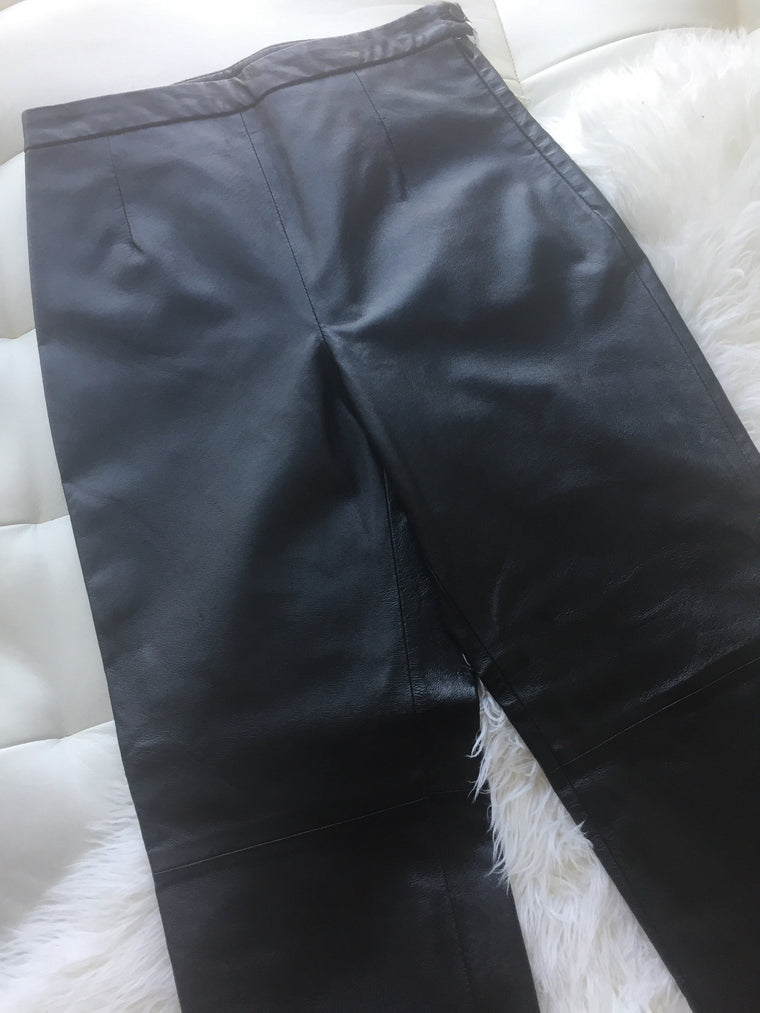 Vintage 1990s High Waist Leather Trousers
