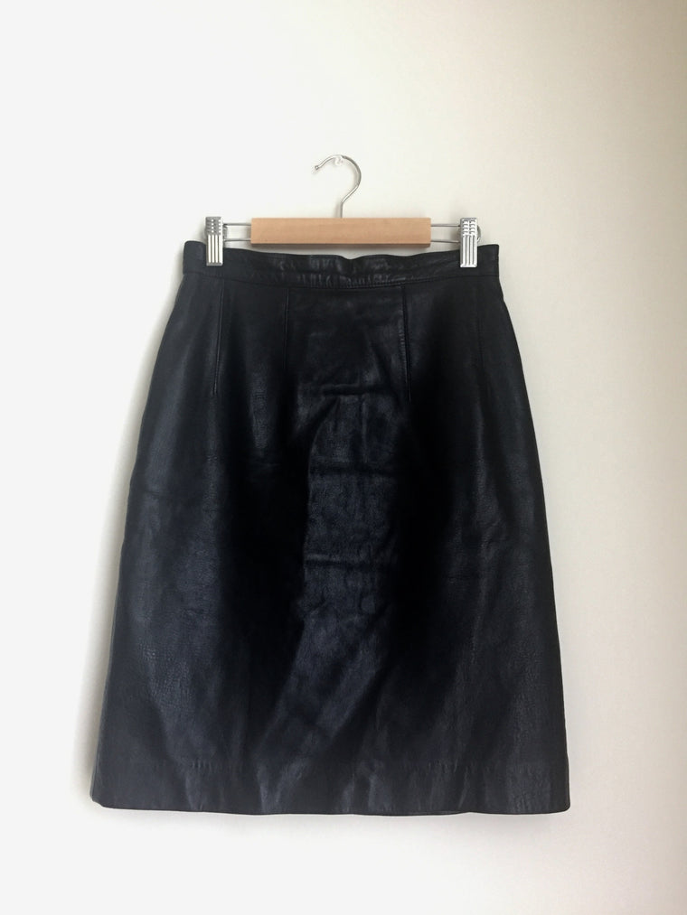 Vintage High-waist black leather mini-skirt by Maxima Neiman Marcus