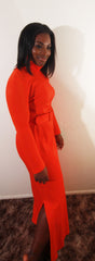 Orange 1970s belted dress
