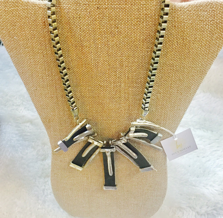 Vintage Silver & Leather Tribal Bib necklace