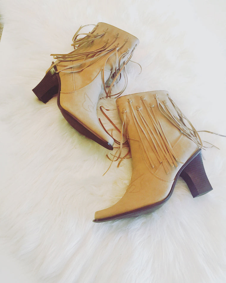 Vintage Cowgirl Fringe Boots circa 1980
