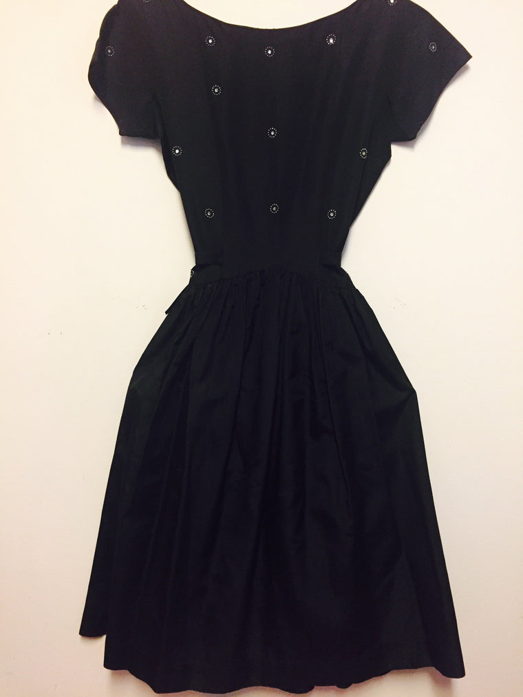 Vintage Empire Waist 1960s Scoop back Black Evening Dress
