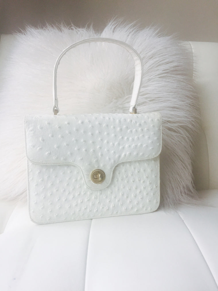 Vintage white Ostrich leather handbag by NicholasREICH circa 1980