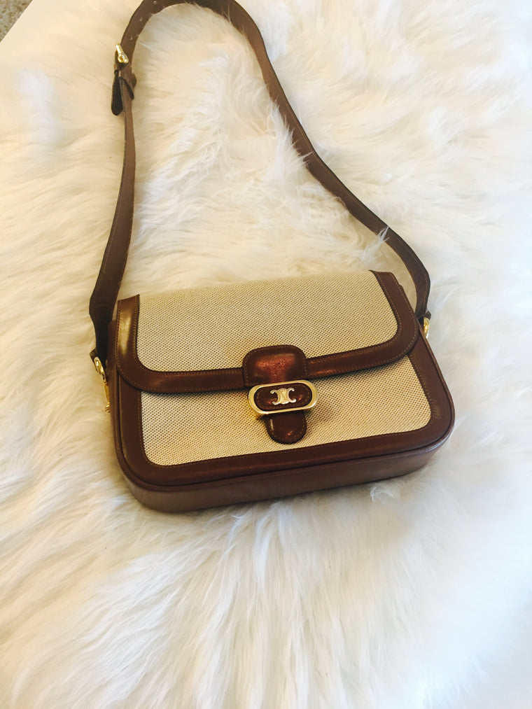 Vintage Celine Brown and white shoulder bag