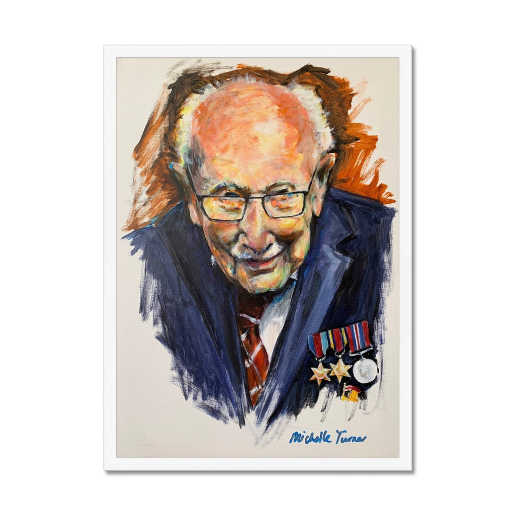 Own your own museum quality Limited Edition print of the Original 'Captain Sir Tom Moore' painted by Michelle Turner unveiled on 1st July 2020 and now hung on permanent public display in the foyer of The Chelsea and Westminster Hospital. With only 10 of each variation available, these prints are created from high-quality wood, milled with simple clean lines and presented with a satin finish. Premium, fine art paper - Handmade frame. Free UK Delivery
