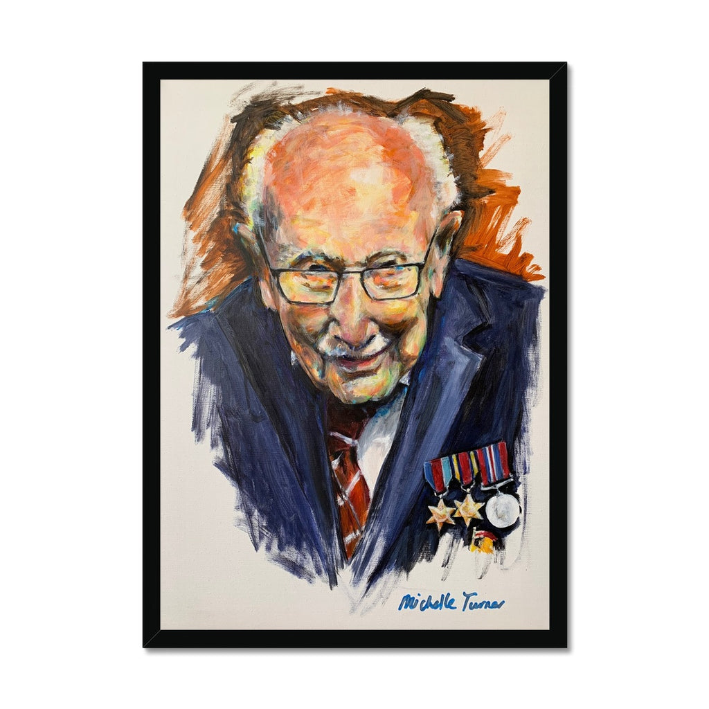Own your own museum quality Limited Edition print of the Original 'Captain Sir Tom Moore' painted by Michelle Turner unveiled on 1st July 2020 and now hung on permanent public display in the foyer of The Chelsea and Westminster Hospital. With only 10 of each variation available, these prints are created from high-quality wood, milled with simple clean lines and presented with a satin finish. Premium, fine art paper - Handmade frame. Free UK Delivery.
