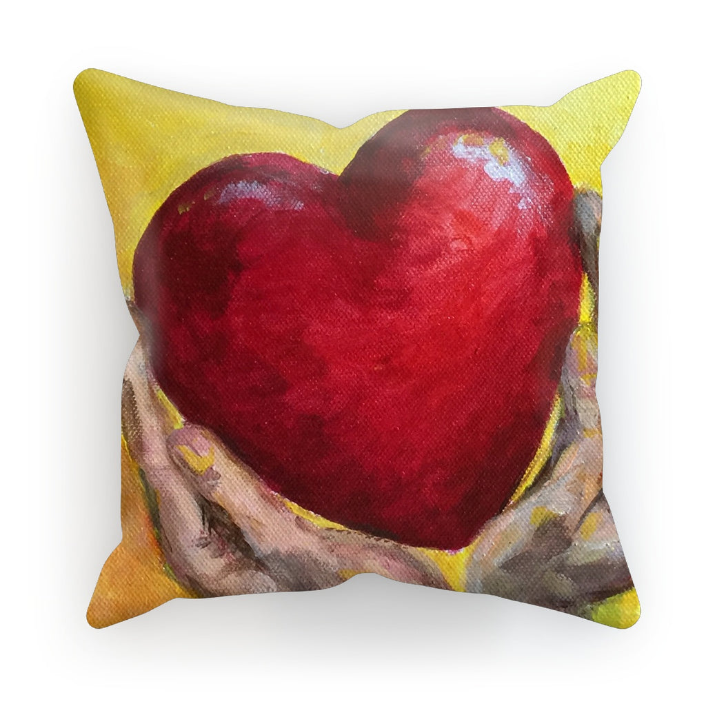 Hold your Heart High by Michelle Turner. Hold your heart high with these fabulous cushions. They are a great way to style your home and add a splash of colour. Make it yours with a choice of fabrics: super-soft faux suede, beach-house linen, or versatile cotton canvas... Zip-back cover for easy removal and care. Includes polyester inner cushion.  Free UK Delivery