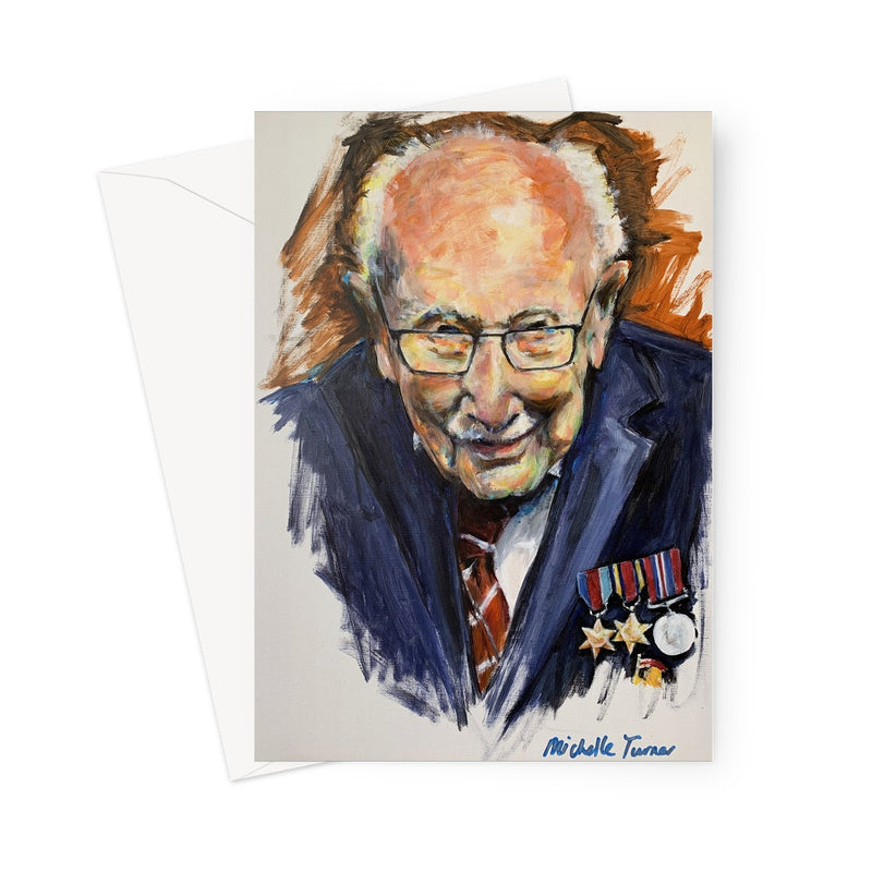 Captain Sir Tom Moore by Michelle Turner  Blank inside for your own personal message, these greetings cards are printed on high-quality 330gsm Fedrigoni card.  Free UK Delivery.