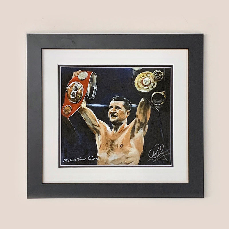 Original Painting by Michelle Turner of Carl 'The Cobra' Froch, retired 4 x world Boxing Champion and Sky Sports Boxing commentator, retaining his IBF super middle-weight crown in 2013 against Mikkel Kessler.  Each original print has been signed by Carl Froch himself and is printed on museum-quality art paper using archival inks.