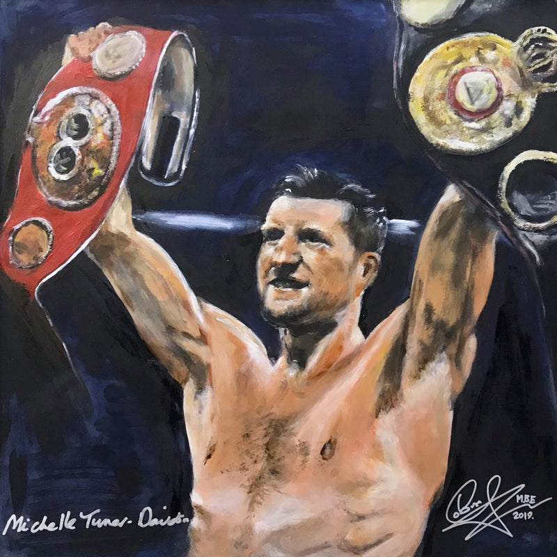 Original Painting of Carl 'The Cobra' Froch, retired 4 x world Boxing Champion and Sky Sports Boxing commentator, retaining his IBF super middle-weight crown in 2013 against Mikkel Kessler.   Signed by Carl