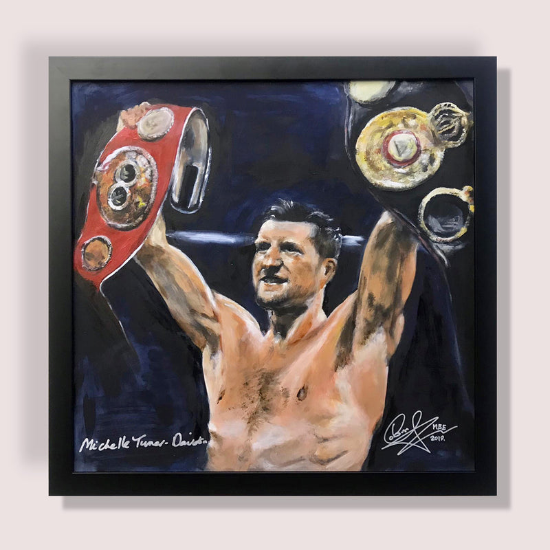 Framed Original Painting of Carl 'The Cobra' Froch, retired 4 x world Boxing Champion and Sky Sports Boxing commentator, retaining his IBF super middle-weight crown in 2013 against Mikkel Kessler.   Signed by Carl