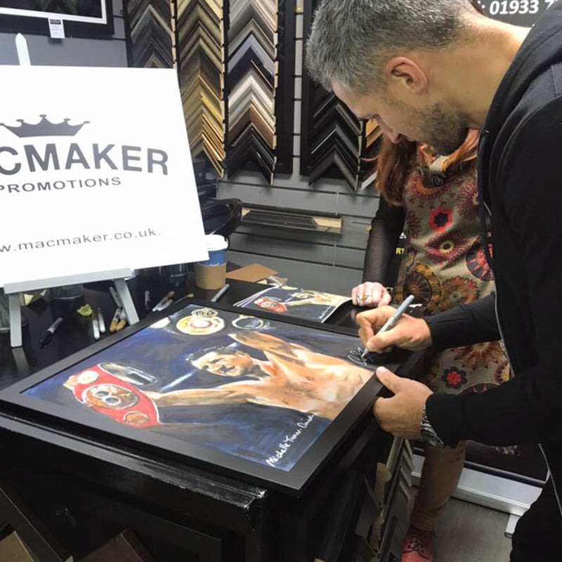 Signed by Carl Froch. Original Painting of Carl 'The Cobra' Froch, retired 4 x world Boxing Champion and Sky Sports Boxing commentator, retaining his IBF super middle-weight crown in 2013 against Mikkel Kessler by Michelle Turner