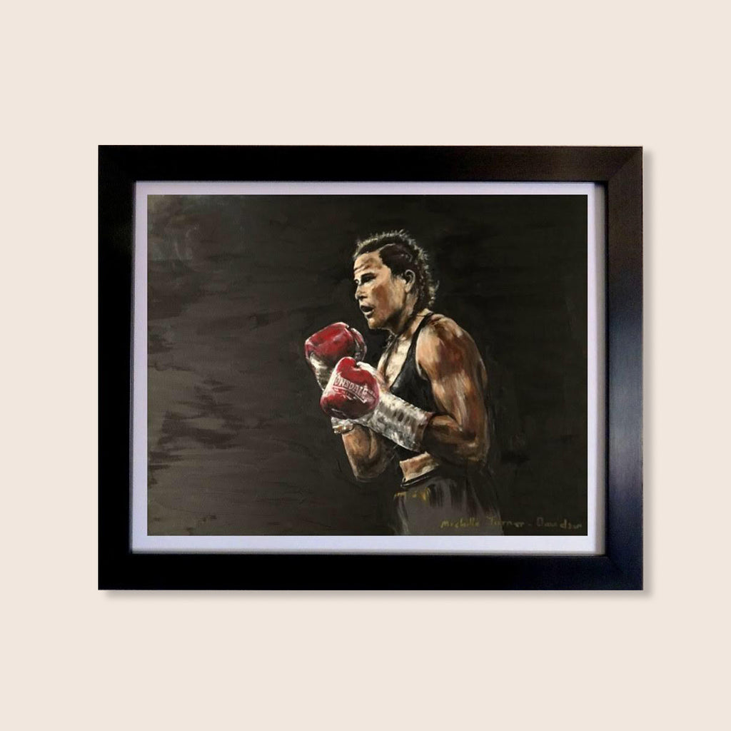Limited Edition print of Original Painting by Michelle Turner 'Bring it on' of Chantelle Cameron WBC Silver Lightweight Champion in the ring for her 2019 WBC final eliminator win against Anisha Basheel. Each original print has been signed by Chantelle Cameron herself and is printed on museum-quality art paper using archival inks