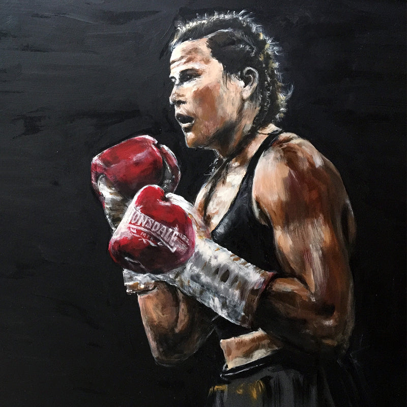 Original Painting By Michelle Turner 'Bring it on' of Chantelle Cameron WBC Silver Lightweight Champion in the ring for her 2019 WBC final eliminator win against Anisha Basheel. This Original was signed by Chantelle at the Art of Boxing Exhibition.