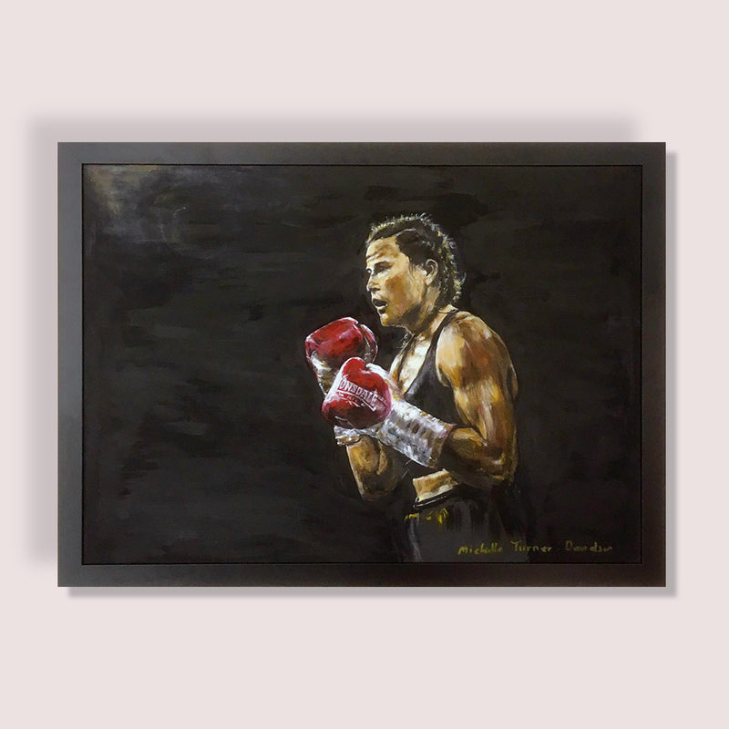 Original Painting By Michelle Turner 'Bring it on' of Chantelle Cameron WBC Silver Lightweight Champion in the ring for her 2019 WBC final eliminator win against Anisha Basheel. This Original was signed by Chantelle at the Art of Boxing Exhibition