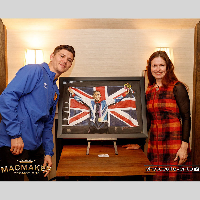 Original painting by Michelle Turner of Olympic Gold Medallist and Commonwealth boxing champion Luke Campbell MBE after his 2013 win, commissioned by Luke. Presented at The Art of Boxing Exhibition at the Cherry Tree, Olney with Macmaker Promotions and Photocall Events