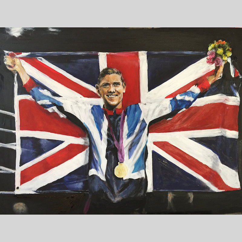 Original painting by Michelle Turner of Olympic Gold Medallist and Commonwealth boxing champion Luke Campbell MBE after his 2013 win, commissioned by Luke. Presented at The Art of Boxing Exhibition at the Cherry Tree, Olney