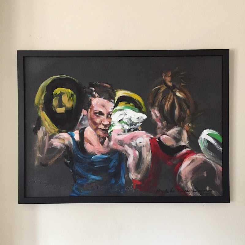 Original Painting 'These Girls Can...' by Michelle Turner. Women who box - padwork and focus. Framed acrylic on board, dark frame. Framed Size: 52cm x 72cm (approx)