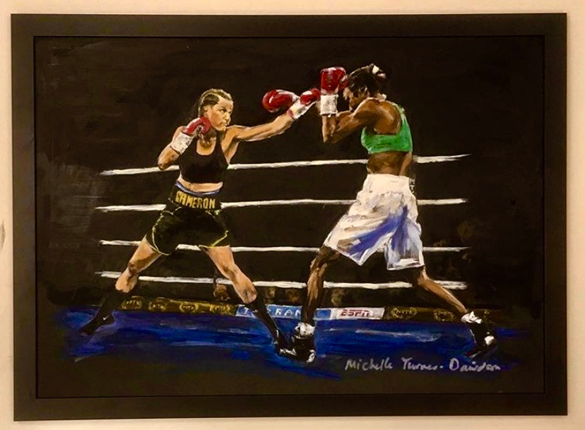 Original Painting 'Cameron vs Basheel'. Second of two action paintings of Chantelle Cameron WBC Silver Lightweight Champion in the ring for her 2019 WBC final eliminator win against Anisha Basheel. This Original was signed by Chantelle at the Art of Boxing Exhibition. Framed acrylic on board, dark frame. Framed Size: 52cm x 72cm (approx)