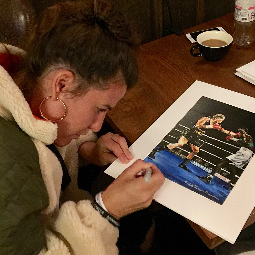 Limited Edition of 5 prints of original painting 'Cameron vs Basheel 1'. One of two in action paintings of Chantelle Cameron  WBC Silver Lightweight Champion in the ring for her 2019 WBC final eliminator win against Anisha Basheel.  Each original print has been signed by Chantelle herself and is printed on museum-quality art paper using archival inks.    Free UK Delivery  Print size: A4 - 210 x 297 mm