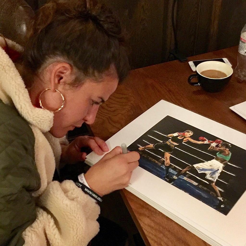 Limited Edition of 5 prints of original painting 'Cameron vs Basheel 2'. One of two in action paintings of Chantelle Cameron  WBC Silver Lightweight Champion in the ring for her 2019 WBC final eliminator win against Anisha Basheel.  Each original print has been signed by Chantelle herself and is printed on museum-quality art paper using archival inks.    Free UK Delivery  Print size: A4 - 210 x 297 mm