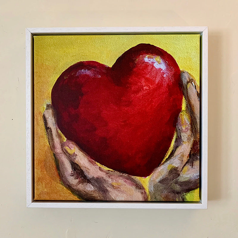 'Hold your Heart High' original artwork by Michelle Turner.   We are one heart. Hold your heart high, hold all hearts high.   Limited edition of Museum quality giclee prints on hand stretched canvas   35.6 x 35.6 cm , 38mm Float Frame.   Frame colours available: White, Brown,Black