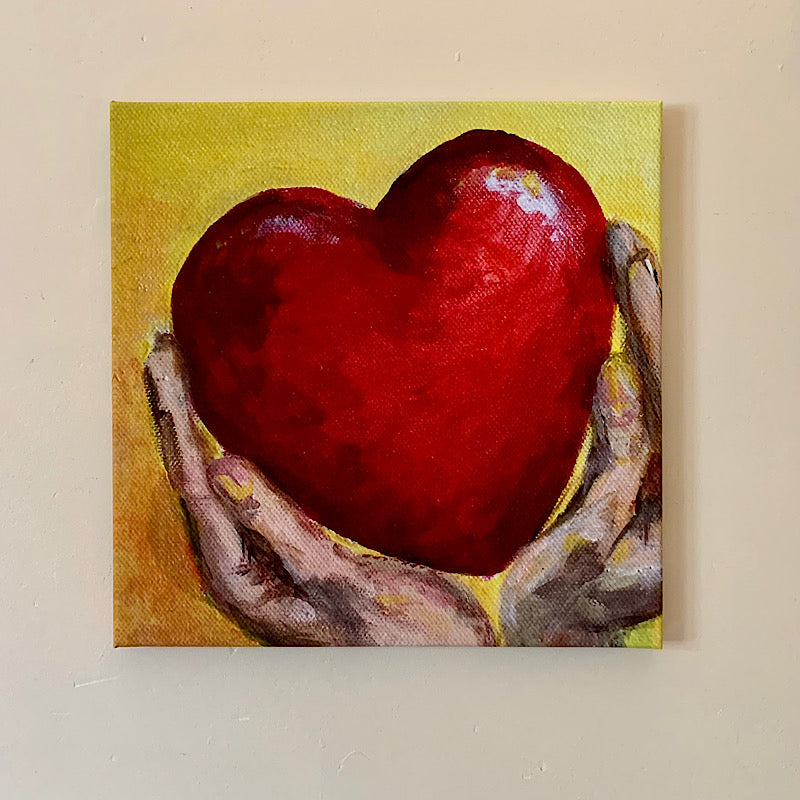 'Hold your Heart High' original artwork by Michelle Turner.   We are one heart. Hold your heart high, hold all hearts high.   Limited edition of Museum quality giclee prints on hand stretched canvas  35.6 x 35.6 cm on 19mm stretcher bar.