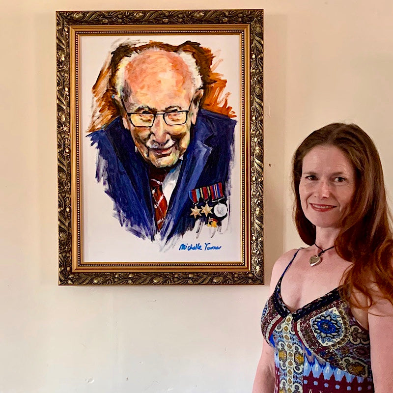 This original painting 'Colonel Tom' - by Michelle Turner was auctioned on Florence Nightingale's 200th birthday by London's Gallery Different and Artists for the NHS with over 50 artworks by professional artists - all proceeds going to Meals for the NHS. Making the top 4 highest bids of the auction. The new owner of the painting donated the painting to an NHS hospital for public viewing and will now be hung in Chelsea and Westminster Veterans hospital for in honour and celebration of Sir Tom Moore.