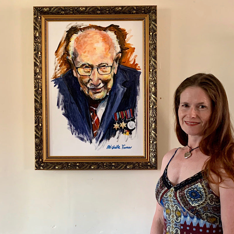 Original 'Captain Sir Tom Moore' painted by Michelle Turner unveiled on 1st July 2020 and now hung on permanent public display in the foyer of The Chelsea and Westminster Hospital.