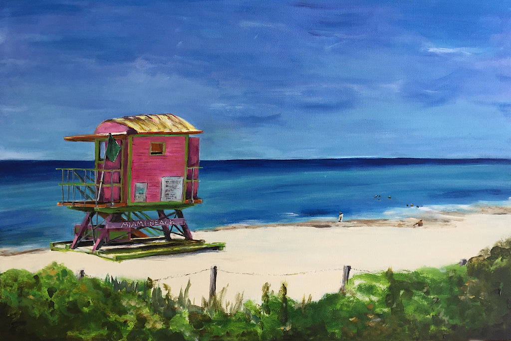 Original Painting 'In the Pink - Guarding Life on Miami Beach' by Michelle Turner. Acrylic on canvas, the sundrenched iconic life guard hut on Miami Beach on a sahara heat-filled day in June with the cool calm sea a myriad of blues and hues. Acrylic on wrapped canvas, optional frame. Unframed Size:  76cm x 51cm (approx)