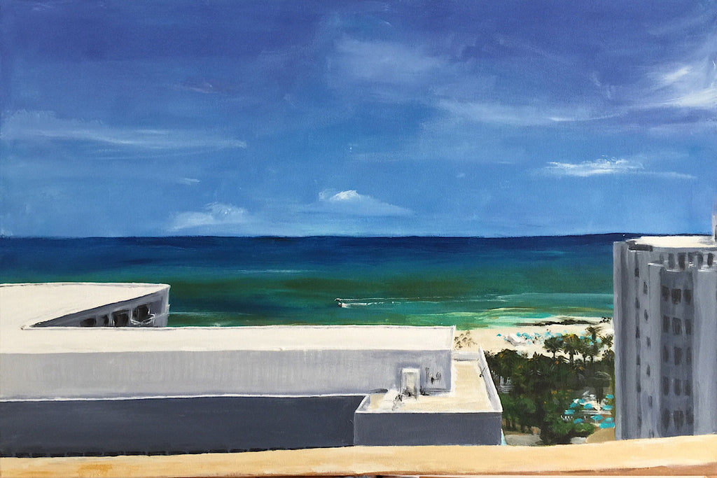 Original Painting 'Apartment View' - Miami Beach series by Michelle Turner  Acrylic on wrapped canvas, optional frame  Unframed Size:  76cm x 51cm (approx)