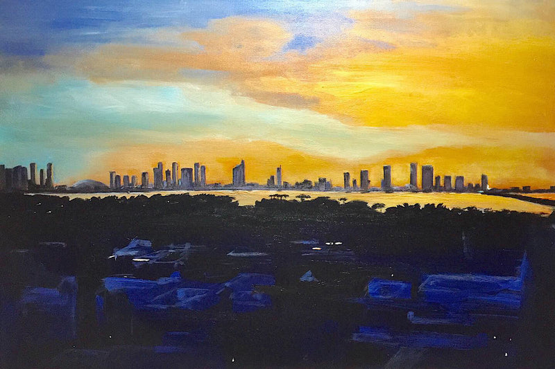 Original painting Rooftop Sunset over Miami City in acrylic 2019