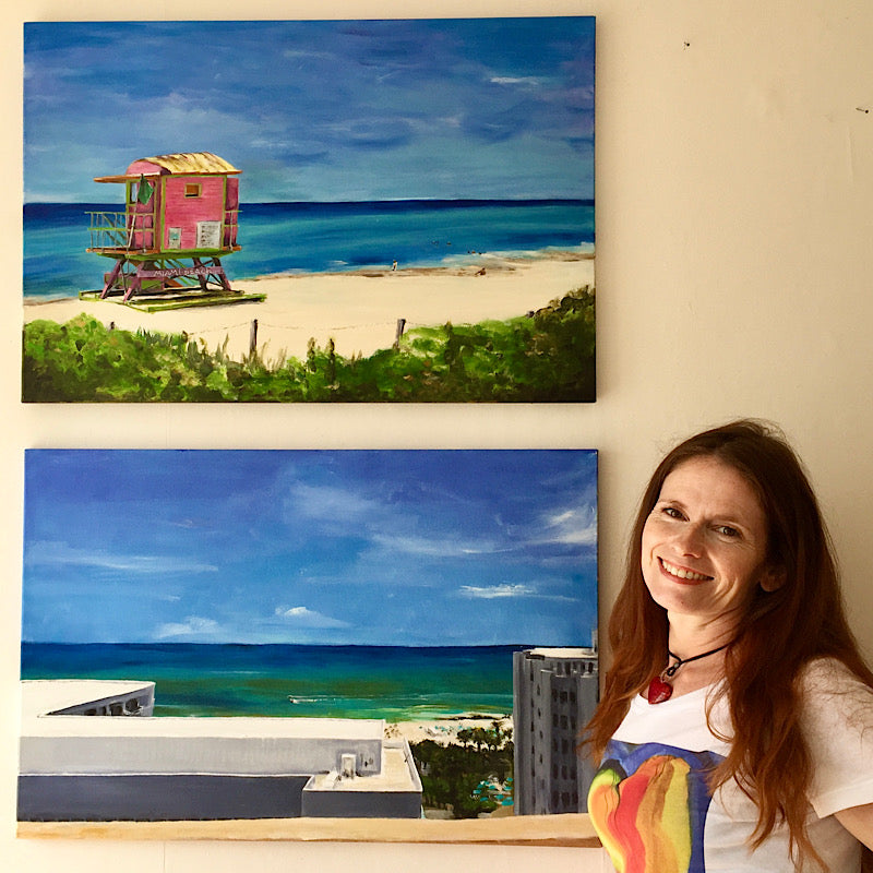Original Painting 'In the Pink - Guarding Life on Miami Beach'  with 'Apartment View' by Michelle Turner. Acrylic on canvas, the sundrenched iconic life guard hut on Miami Beach on a sahara heat-filled day in June with the cool calm sea a myriad of blues and hues. Acrylic on wrapped canvas, optional frame. Unframed Size:  76cm x 51cm (approx)