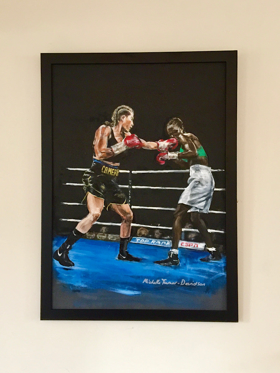 SOLD - Original Painting 'Cameron vs Basheel' by Michelle Turner. One of two action paintings of Chantelle Cameron WBC Silver Lightweight Champion in the ring for her 2019 WBC final eliminator win against Anisha Basheel. This Original was signed by Chantelle at the Art of Boxing Exhibition. Framed acrylic on board, dark frame. Framed Size: 52cm x 72cm (approx)