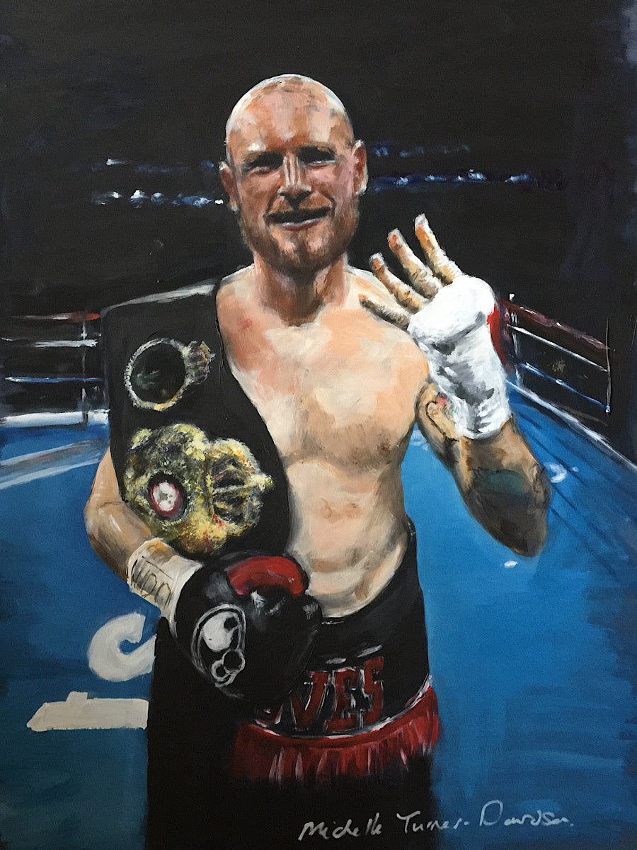 'Saint' George Groves '4th Time Lucky' version 2 - Original painting painted for George Groves,  former British, Commonwealth, European and WBA World Super-Middleweight Boxing Champion of his iconic celebration pose after winning the world title in 2017 on his 4th attempt. Acrylic on board