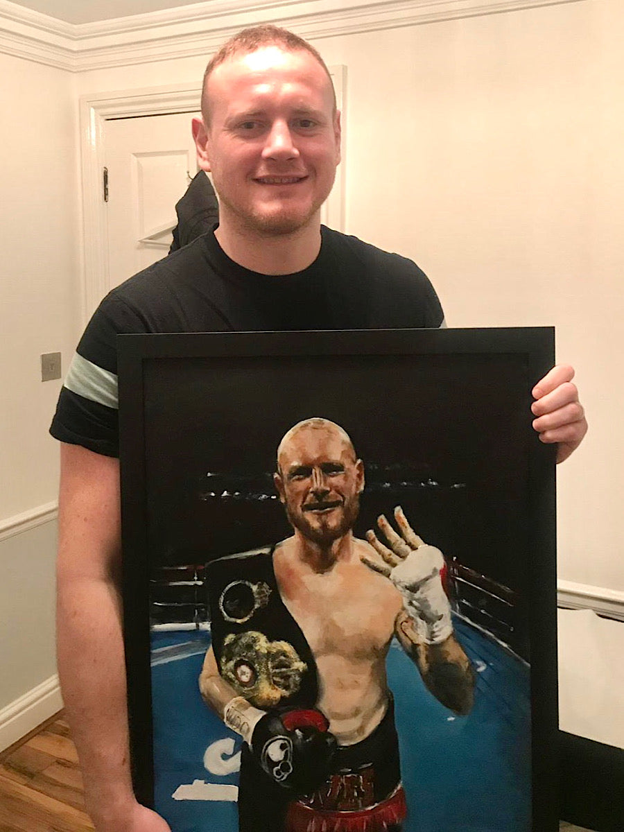 George Groves with his painting '4th Time Lucky' by Michelle Turner