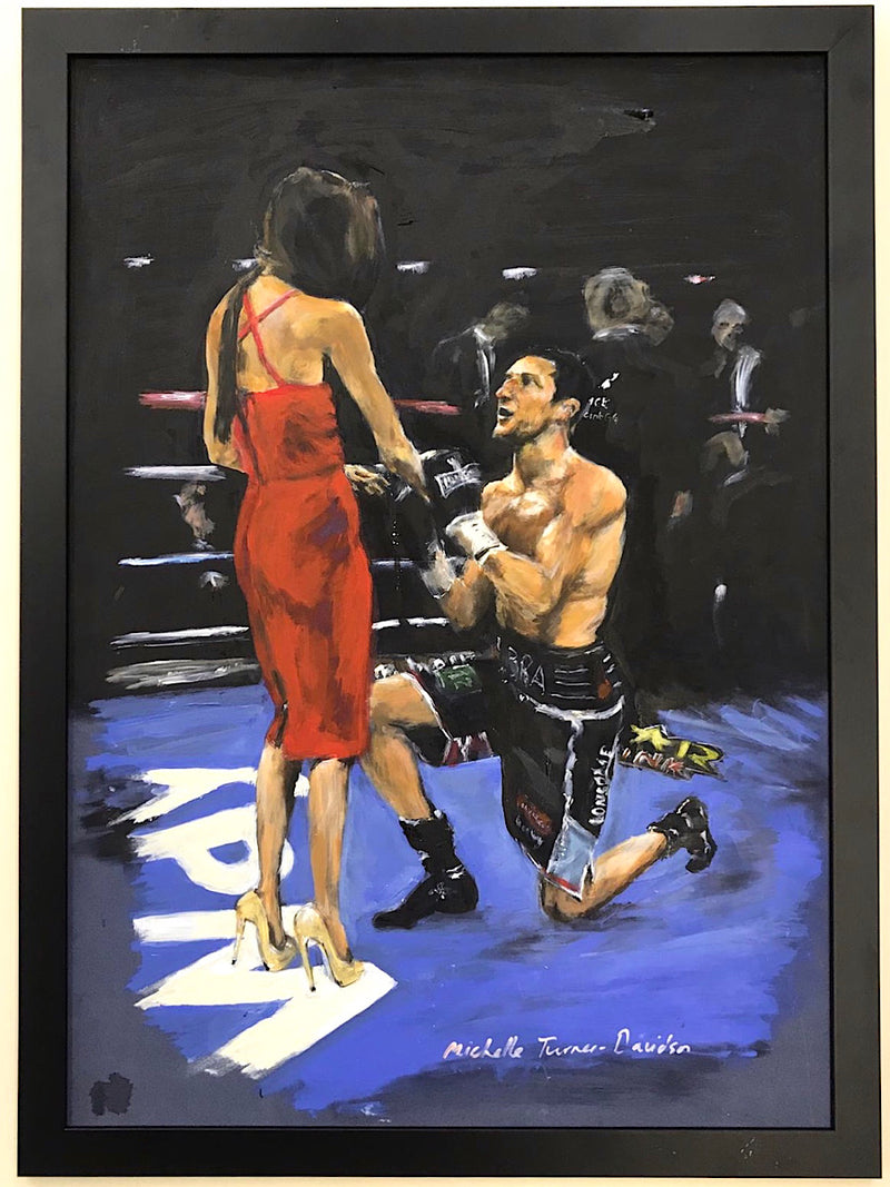 'Proposal in the Ring' Carl Froch proposes to Rachael Cordingley in the ring at Wembley in 2014 after winning against George Groves. Original painting by Michelle Turner