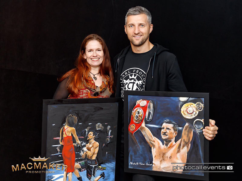 Carl Froch and Michelle Turner with 'Proposal in the Ring' and 'Carl Froch World Champion'  -thanks to  Macmaker Promotions and  photos by Photocall Events