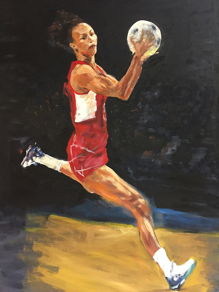 'Serena' Guthrie - England Netball Captain. Original painting by Michelle Turner for and of the fabulously athletic Serena Guthrie in 'flight'.