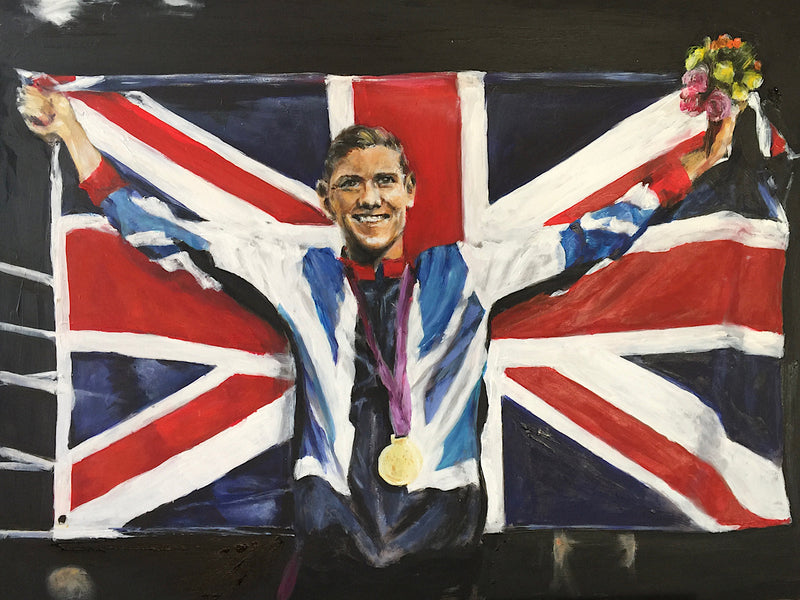 Original painting 'Luke Campbell - Olympic Gold' by Michelle Turner