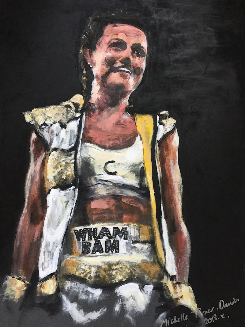 SOLD - Original Painting 'The Winning Smile' by Michelle Turner . Chantelle Cameron's very recognisable winning smile, this time after her 2018 fight against Myriam Dellal