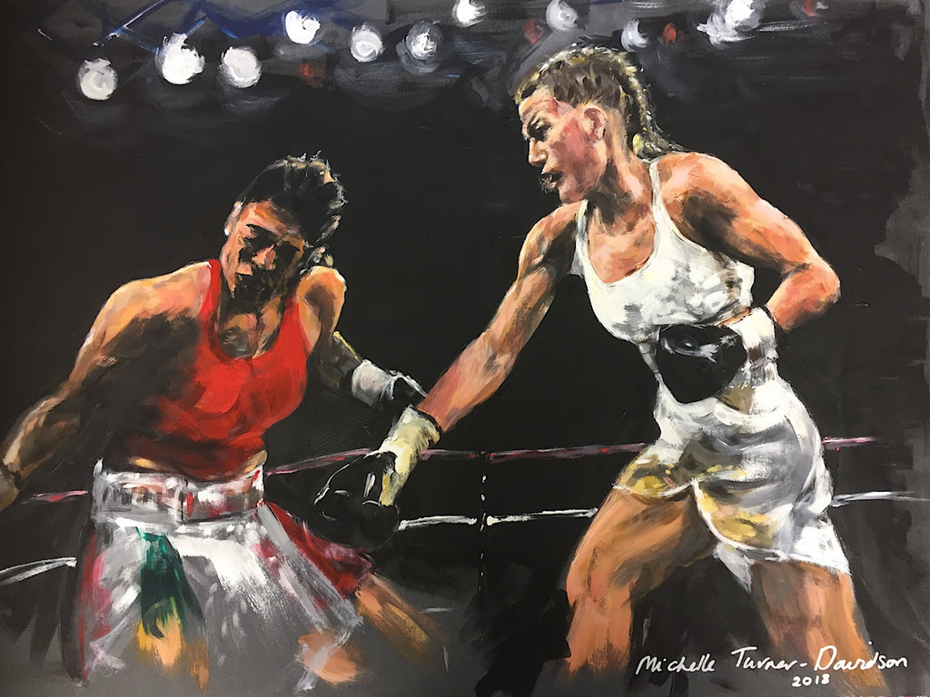 Original painting by Michelle Turner 'Wham Bam Chan - Cameron vs Ramos'   British professional boxer and IBO lightweight from 2017-2019, Chantelle Cameron's winning bout with Edith Ramos in 2018