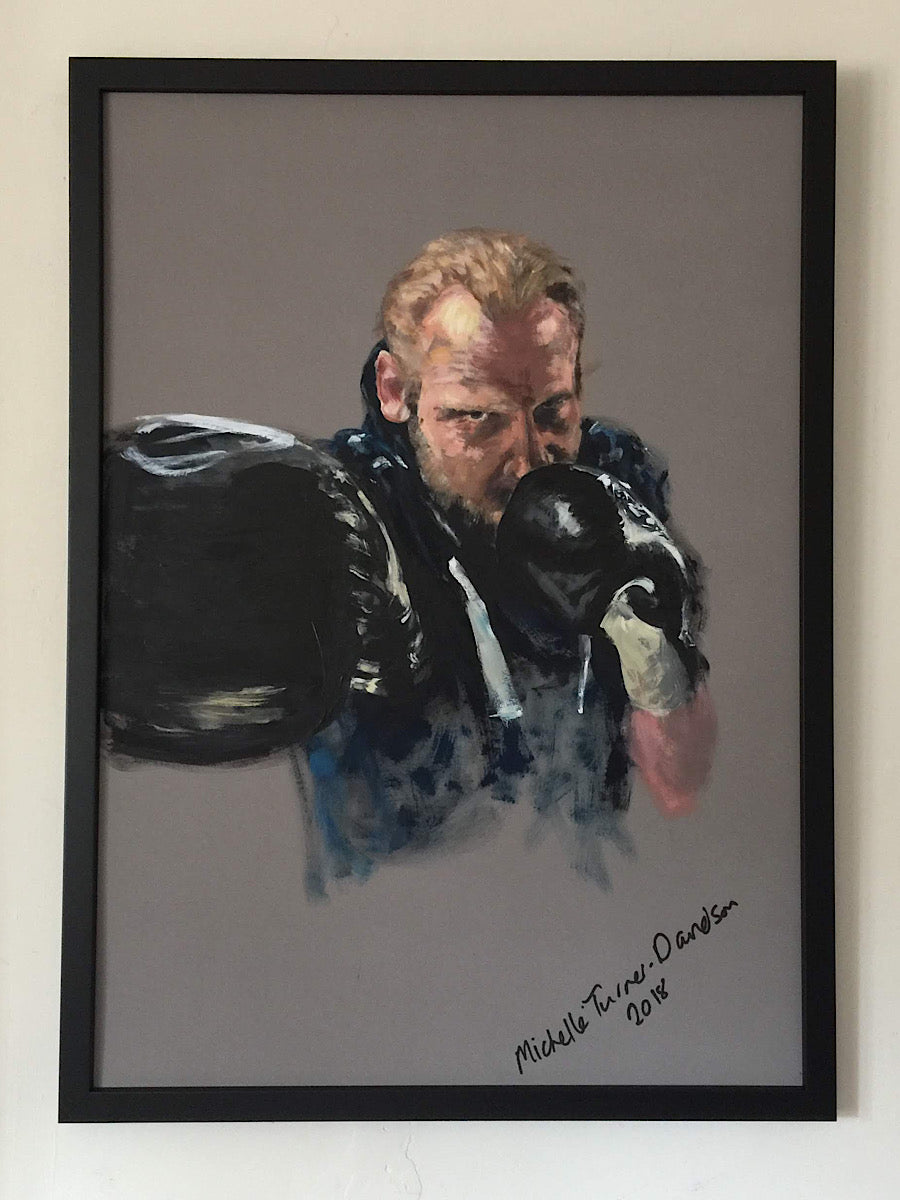 Original Painting 'Oosh' by Michelle Turner  The power of the right jab...Oosh  Acrylic on board with dark frame  Framed size: 52 x 72cm (approx)