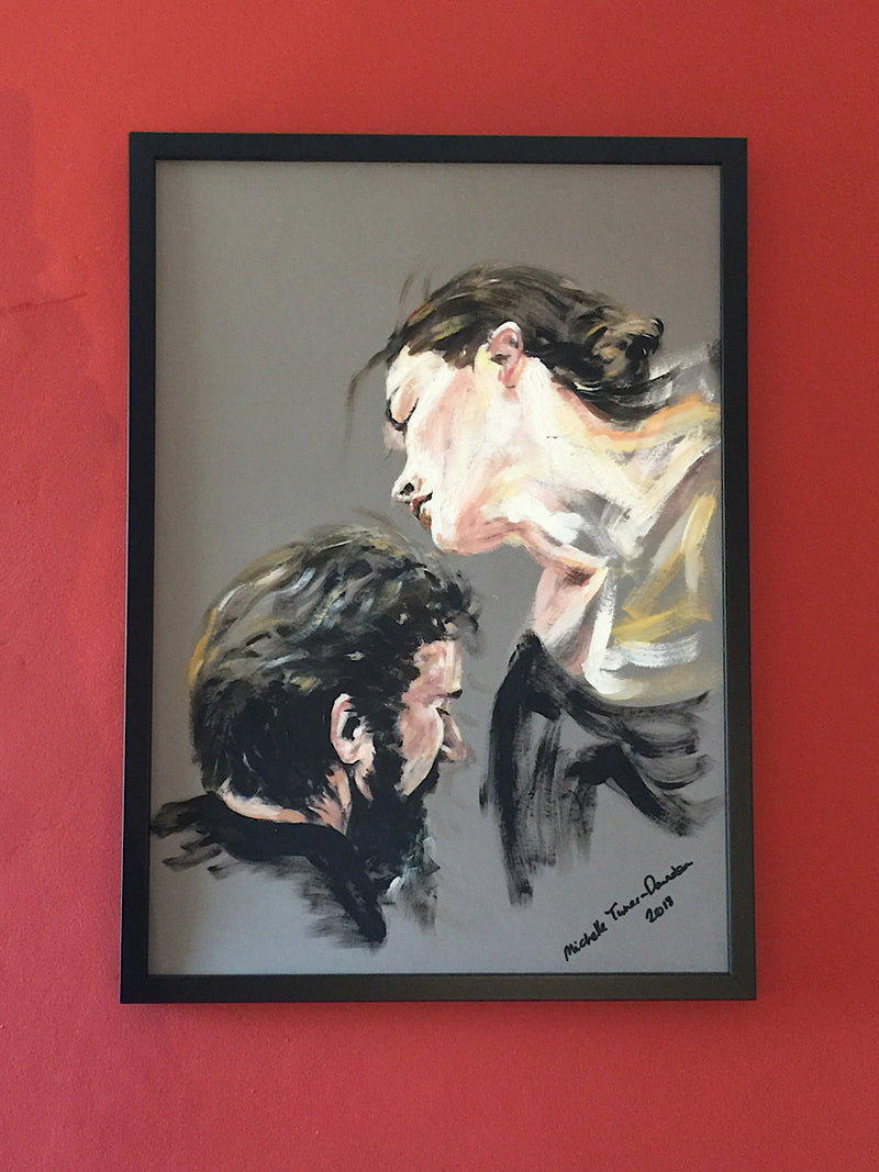 Original painting 'Pas de Deux' by Michelle Turner  The beauty and joy of a pas de deux is the silent intuitive, sensual connection and communication between two people.  Acrylic on Board with dark frame  Framed size : 52 x 72 cm (approx)