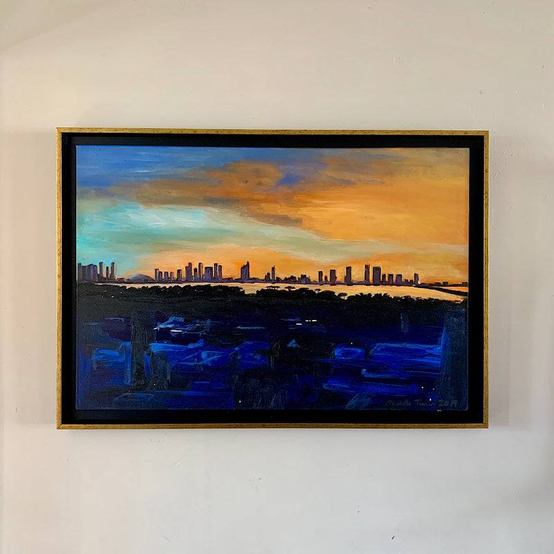 Black and gold rimmed float frame, Original painting Rooftop Sunset over Miami City in acrylic 2019