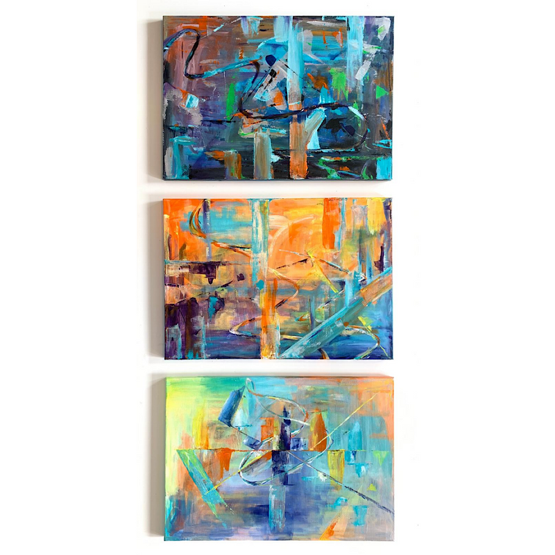 Original abstract art work  series: 'Lost in Translation' by Michelle Turner, Acrylic on Canvas. There are areas of iridescence in each of these paintings which changes the story and perspective as the light changes and they are viewed from different angles.  Lost in Translation | Duality | Semaphore  Each Unframed Wrapped Canvas Size: 42 x 60cm