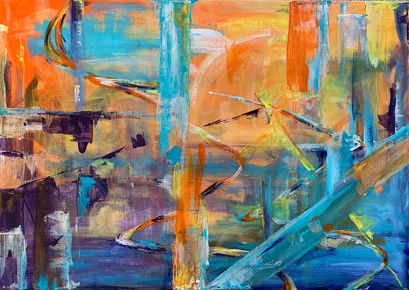 'Duality' the second in the series of original abstract art work: 'Lost in Translation' by Michelle Turner, Acrylic on Canvas. There are areas of iridescence in each of these paintings which changes the story and perspective as the light changes and they are viewed from different angles. Unframed Wrapped Canvas Size: 42 x 60cm