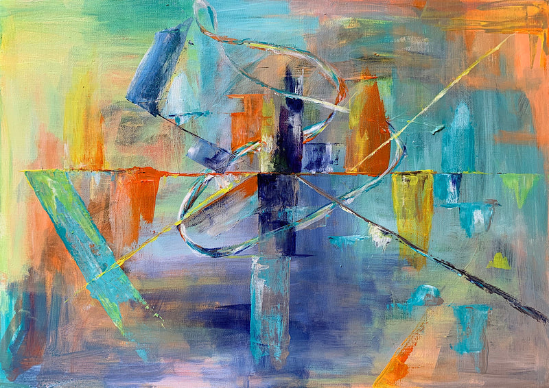 'Semaphore'  the third in the series of original abstract art work: 'Lost in Translation' by Michelle Turner, Acrylic on Canvas. There are areas of iridescence in each of these paintings which changes the story and perspective as the light changes and they are viewed from different angles. Unframed Wrapped Canvas Size: 42 x 60cm