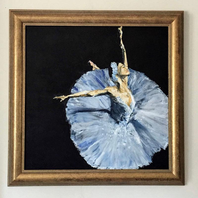 In the Spotlight classical ballet dancer, ballerina in the spotlight, palette knife painting by Michelle Turner